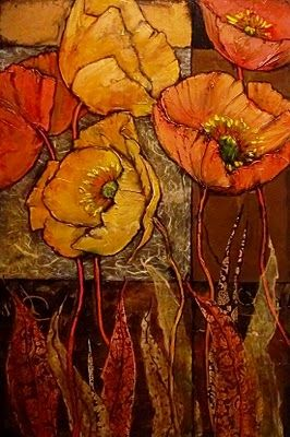 FIVE POPPIES, revised 10118, daily painter textured floral Carol Nelson Fine Art, painting by artist Carol Nelson
