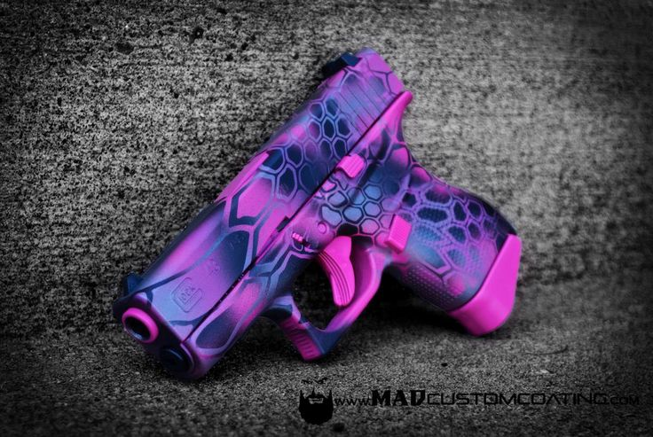 Pink MAD Dragon on a GLOCK 43. We used MAD Black, Sig Pink & Tactical Grey. Who else got a firearm for their spouse for Christmas? For more projects visit www.madcustomcoating.com.