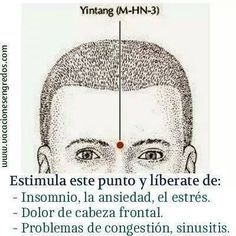 El punto Yin Tang, es considerado uno de los puntos extraordinarios de la Medicina Tradicional China (Extra-3). Esto quiere decir que no se encuentra dentro de ningún meridiano energético del cuerpo. Este punto es uno de los más importantes de todo el cuerpo y se localiza entre medio de las dos cejas. Realiza una línea ...