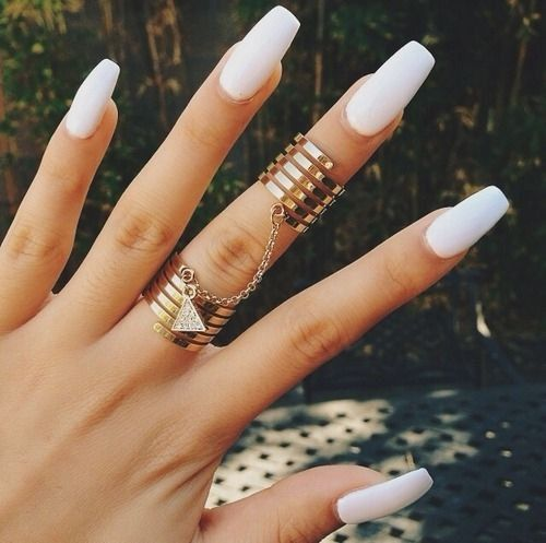 Long Coffin Matte White stick on nails press on by LooveBeauty