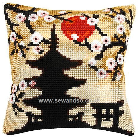 Pagoda Silhouette Cushion Front Chunky Cross Stitch Kit