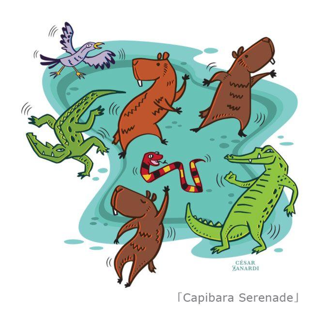 『Capibara Serenade/César Zanardi(セサール・サナルディ)』 CDジャケットデザインやキャラクター制作等、日本で様々なデザイン活動を展開中のアルゼンチン・ブエノスアイレス出身のイラストレーター/グラフィック・デザイナー『César Zanardi』(セサール・サナルディ)作品。 「このイラストには南米の、楽観的な気持ちにさせてくれる音楽と豊かな自然を取入れました。満月の夜、広大な湖でカピバラやワニ、蛇や鳥たちが集まり、セレナーデを歌い始める。暖かい夜には動物たちが穏やかに踊り、幸せがやってくる! 」とのこと。