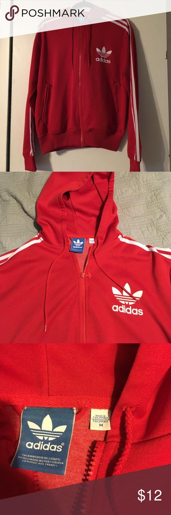Adidas Zip-up Hoodie Adidas. Medium. Red. Zip-up Hoodie. Excellent condition. Smoke free home. Adidas Tops Sweatshirts & Hoodies