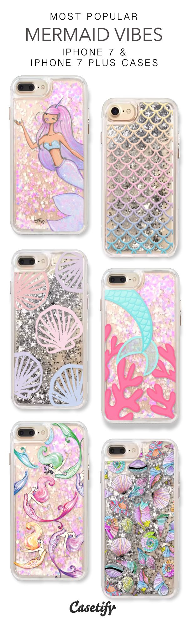 Most Popular Mermaid Vibes iPhone 7 Cases & iPhone 7 Plus Cases. More glitter iPhone case here > https://www.casetify.com/en_US/collections/iphone-7-glitter-cases#/