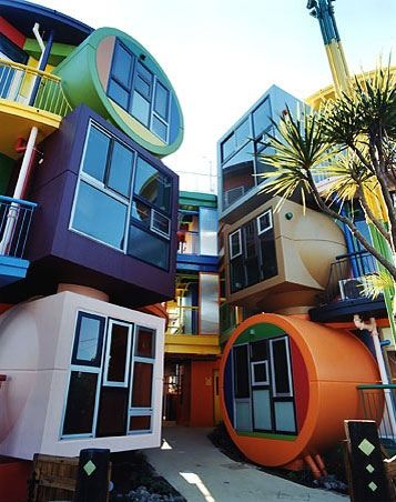 9 loft-style units designed by the late artist Shusaku Arakawa and his wife Madeline Gins. It's located in Mikata, a suburb of Tokyo.