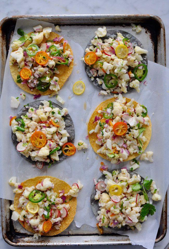 Cauliflower Ceviche Tostadas Recipe #vegan #glutenfree #cleaneating | ¡HOLA! JALAPEÑO