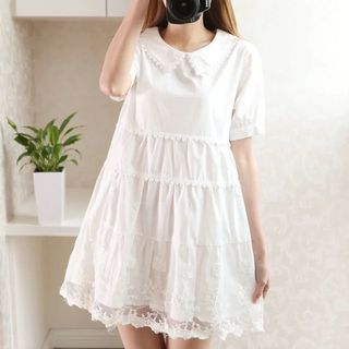PANDAGO Short-Sleeve Lace Trim Embroidered A-line Dress