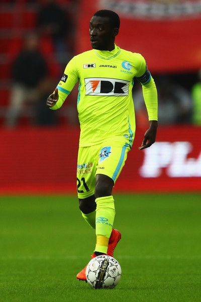 Nana Asare of K.A.A. Gent in action during the Belgian Jupiler Pro League match between Royal Standard de Liege and KAA Gent held at Stade Maurice Dufrasne on February 19, 2017 in Liege, Belgium.