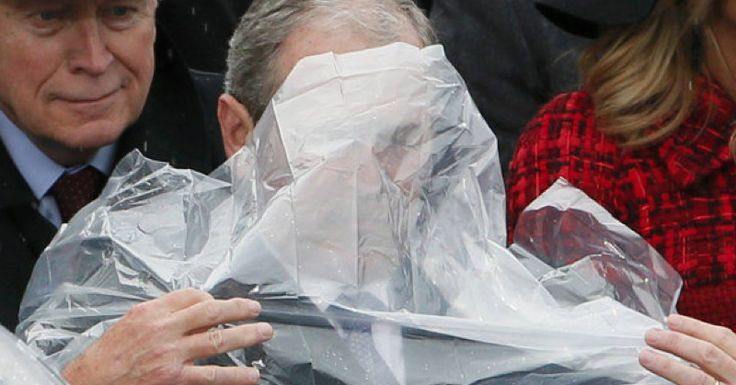 "George Bush appeared to be having quite the struggle at Donald Trump's inauguration earlier today – and the results have gone viral. It wasn't a political rival or complex moral issue that stumped the former U.S. President but a plastic poncho. \As Cosmopolitan puts it, ""three key figures"" showed up to the event today – …"