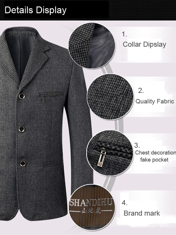 Mens Casual Wool Blend Three Button Spring Autumn Slim Fit Business Suit at Banggood