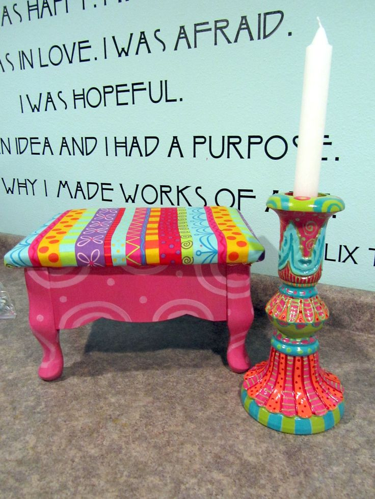 hand painted bench and Candlestick. More