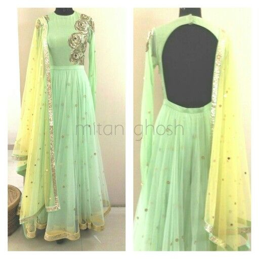 Summer outfit: pastel yellow and green anarkali: