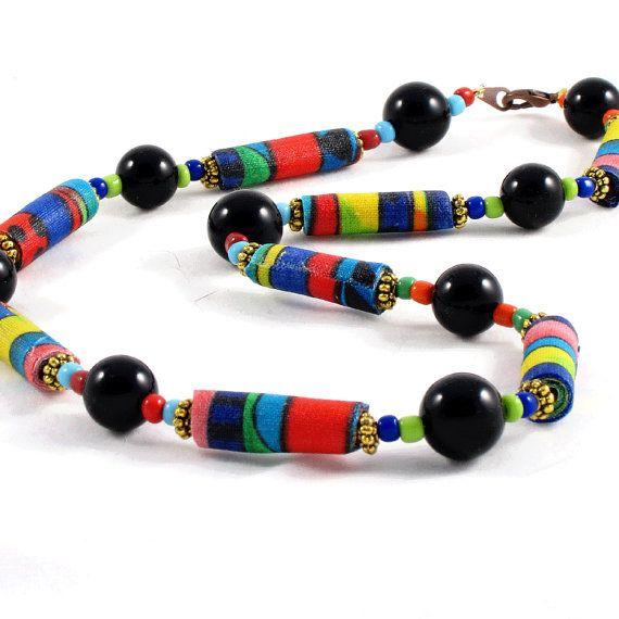 Bead Necklace Fiber Necklace Textile Necklace Fabric by Fibernique, $30.00