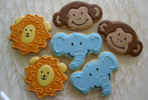jungle cookies    For more jungle/safari baby shower ideas go to:  http://www.modern-baby-shower-ideas.com/safari-baby-shower-theme.html