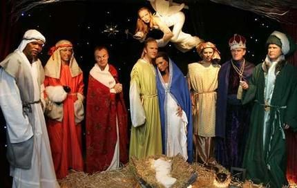 awkward holiday decor. Wise men George Bush, Tony Blair and Prince Philip. The Virgin Mary? Posh Spice with Beckham as the husband. Samuel L Jackson as a shepherd, along with Graham Norton and Hugh Grant. Kylie Minogue is the angel.