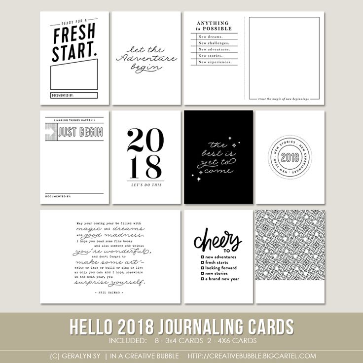 Image of Hello 2018 Journaling Cards (Digital)