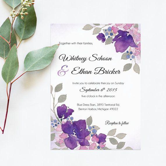 Garden Wedding Invitations Printable. Floral Wedding Invitation, RSVP, Garden Wedding Program Design. French Style Wedding Invitation 5x7