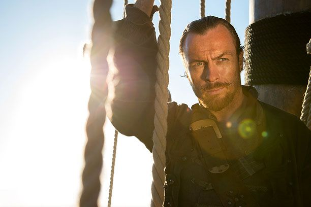 "Toby Stephens as Captain Flint in the new STARZ TV series ""Black Sails"" Premieres January 25, 2014."