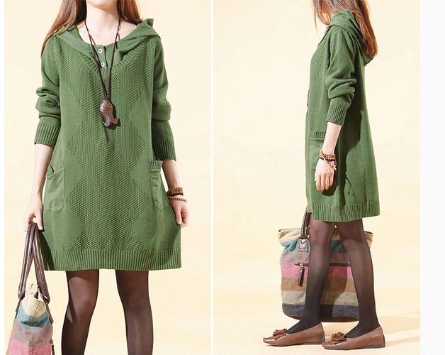 Jerseys y chalecos de lana - Suéter verde del ejército vestido con capucha -106 - hecho a mano por MissJuan en DaWanda