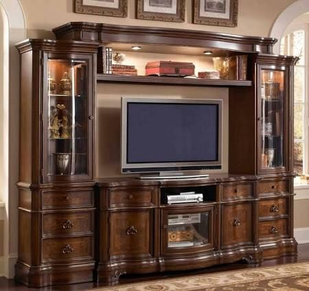4 Pc Florenza II Collection Dark Wood Finish TV Entertainment Center Wall Unit With Glass Cabinets Measures X H Stand Some Assembly