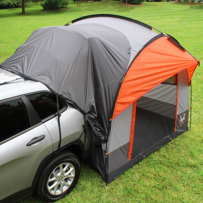 The Rightline Gear SUV Tent lets you sleep off the ground in the comfort of your own vehicle. The tent connects to the back of any size SUV, minivan, wagon, or pick-up truck with cap. Large size no-see-um mesh windows and doors have storm covers that can be closed for privacy. The SUV Tent features (2) gear pockets, a lantern hanging hook, and glow-in-the-dark zipper pulls. The vehicle sleeve easily disconnects, allowing you to leave the tent behind as you go about the day's adventures.