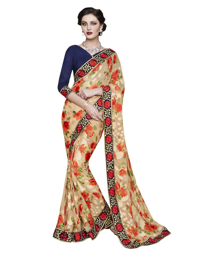 Buy Now Designer Cream Fancy Embroidery Brasso Party Wear Saree With Dhupian Blouse only at Lalgulal.com. Price :- 2,712/- inr. To Order :- http://goo.gl/tBHXf3. COD & Free Shipping Available only in India