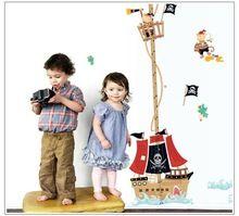 Frete grátis new vinil removível de navio pirata altura adesivos de parede crianças altura medida adesivos de parede(China (Mainland))