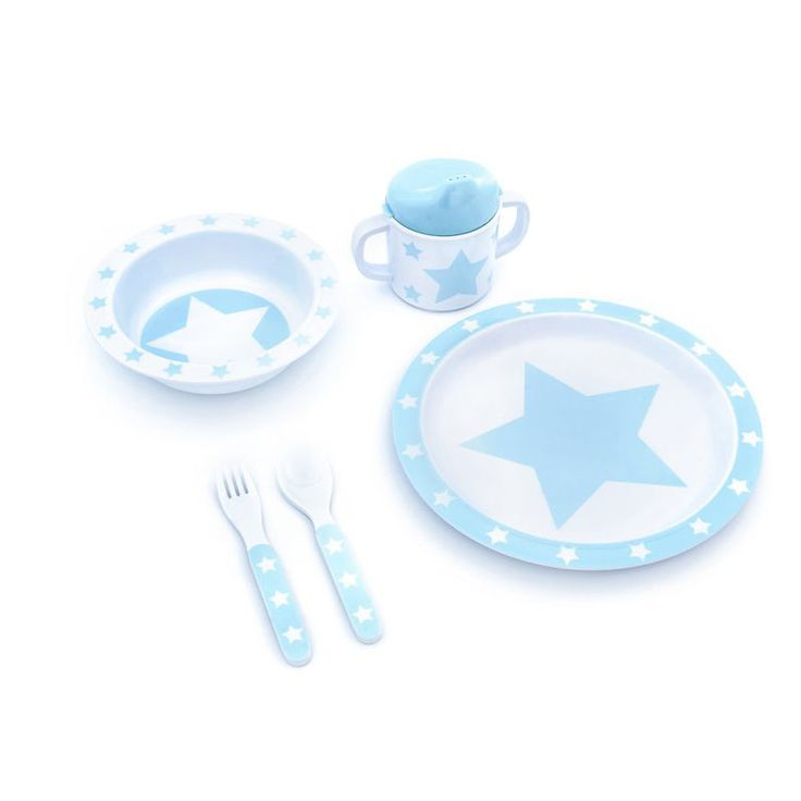 Pimpalou Melamin Kindergeschirr-Set Sterne hellblau/weiß 5-teilig