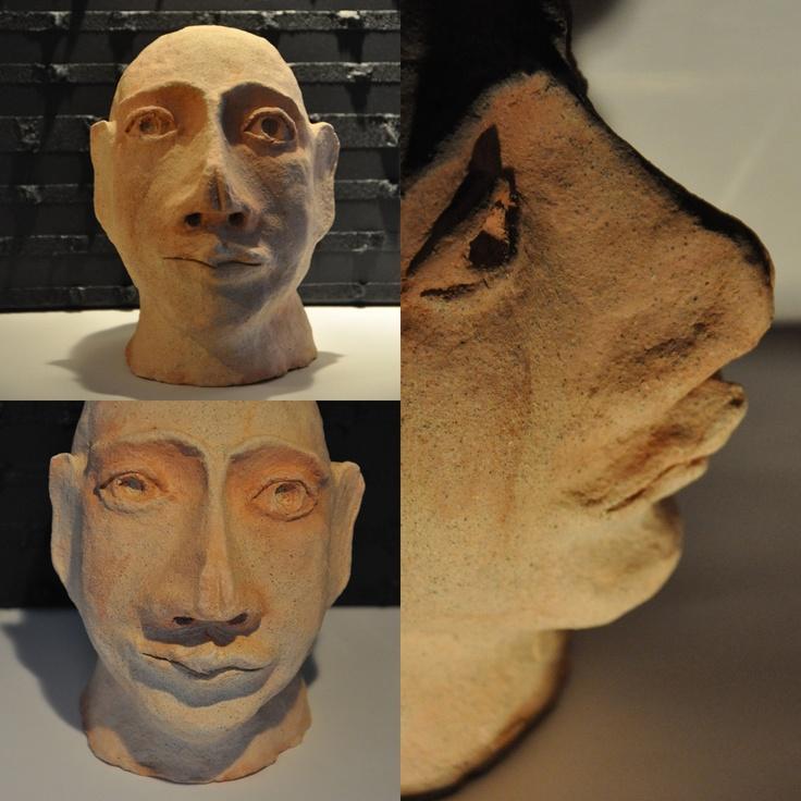 ceramic head 1 fired clay sculpture by iza hazell