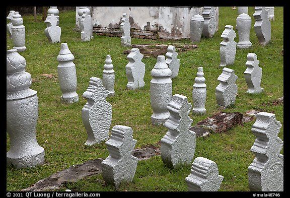 Muslim graves with simple markers, Kampung Kling. Malacca City, Malaysia