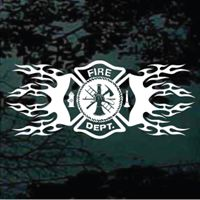 Tribal Maltese Cross #decals and #stickers for Firefighters at www.DecalJunky.com