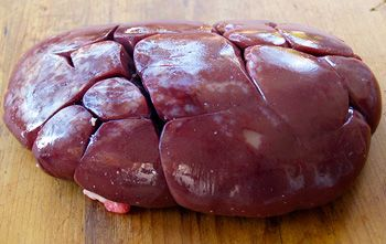 """Beef Liver is the liver of a cow or steer.    It has a milder taste than pork liver, but a stronger than that of Lamb's Liver. Generally, liver from younger cows (aka Calf's Liver) is preferred, as Calf's liver is a bit more tender, and has a bit less of that strong """"liver"""" taste."""