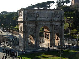 The victory arch of Emperor Constantine, Rome was built in 315 to celebrate the 10th anniversary of the throne hold by emperor Constantine. Most of the sculptures represent art from the first three centuries. The arch is located between the Colosseum and the Forum Romanum.