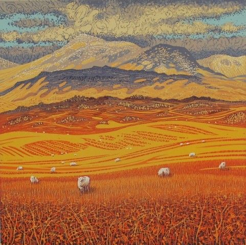 From Birker Fell to Sca Fell by Mark A Pearce | Reduction linocut print. Edition of 42