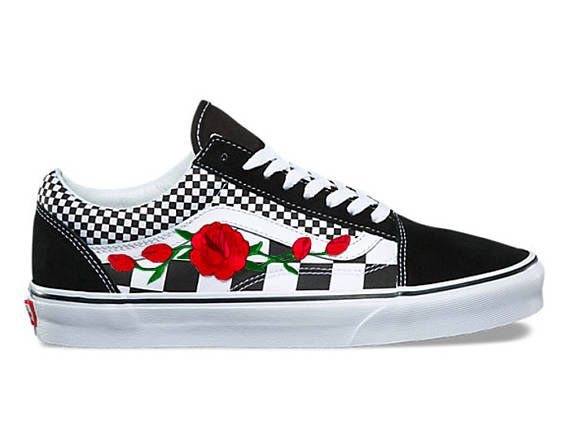 new concept 2d80e 359d1 I Have Other Colors. Check My Shop Custom embroidered, Vans custom  sneakers, floral sneakers, Womens sneakers, flower Vans, red rose Vans, ...