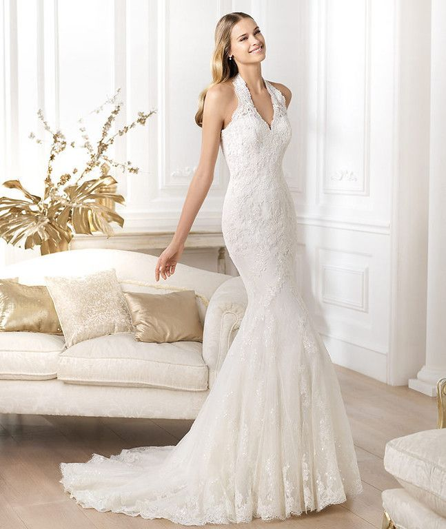 Awesome Ivory Mermaid Trumpet Halter Lace Wedding Dress With Beads And Appliques