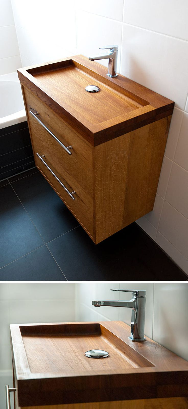 Bathroom Design Idea – Install A Wood Sink For A Natural Touch