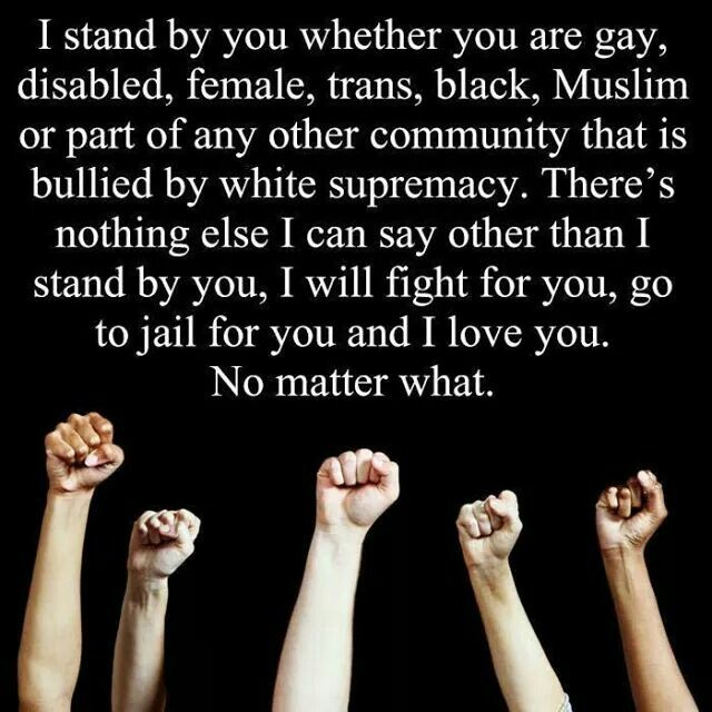 To hell with Trump and his hateful mob -- there are millions of good people in this country and WE will fight for you.