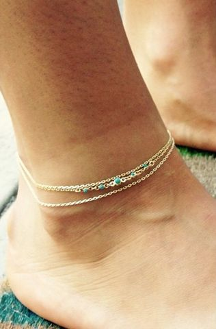 Jules Smith Multi Chain & Turquoise Anklet-Hip Jewelry   Melroso