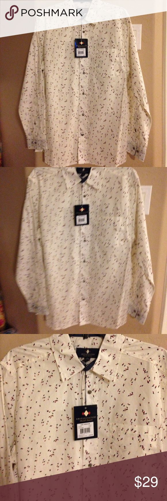 Argyle Culture-Russell Simmons Shirt – size Medium NEW - Argyle Culture-Russell Simmons Shirt – size Medium. This is a beautiful shirt it is 100% cotton and machine washable. Argyle Culture-Russell Simmons Shirts Casual Button Down Shirts