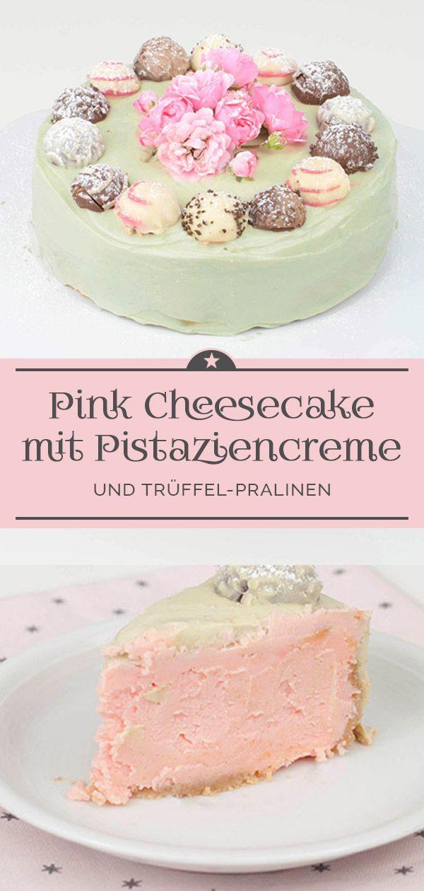 Pink Cheesecake mit Trüffel-Pralinen im Pistaziencreme-Mantel