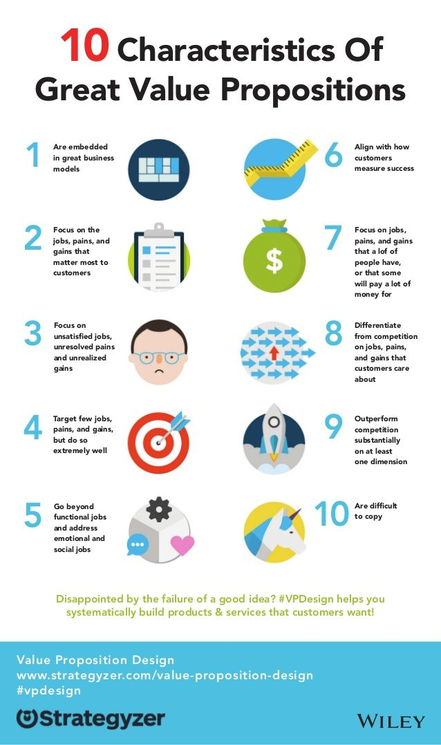10 Characteristics Of  Great Value Propositions  Are embedded  in great business  models  Focus on the  jobs, pains, and  ...