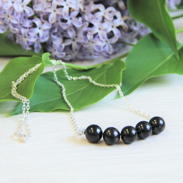 Shungite EMF necklace on a chain with round 10 mm shungite beads $16.99