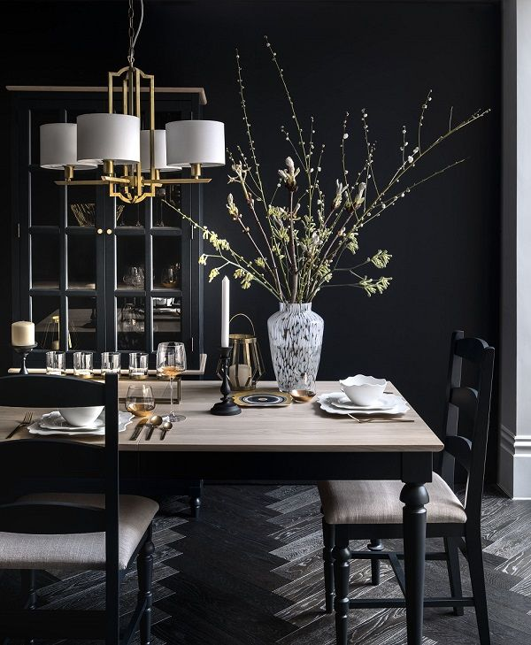 Current Trends Dark And Dramatic And How To Work It Dark Dining Room Luxury Dining Room Dark Interiors Dining room appealing black kitchen