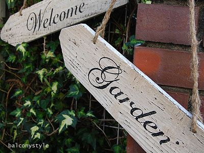 ウッドサインボード-Garden・Welcome