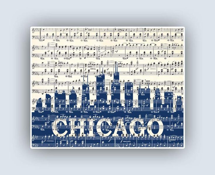 Chicago Skyline Poster, Chicago Illinois Print, Music Art City Skyline Art, Wedding Gift, Personalized Gift Wedding, Family  Established by DigitalArtLand on Etsy