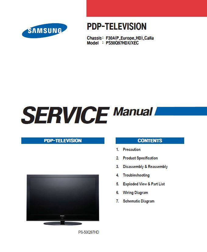 Samsung Ps 50q97hd Ps50q97hd Ps50q97hdx Tv Service Manual Tv Services Repair Guide Samsung