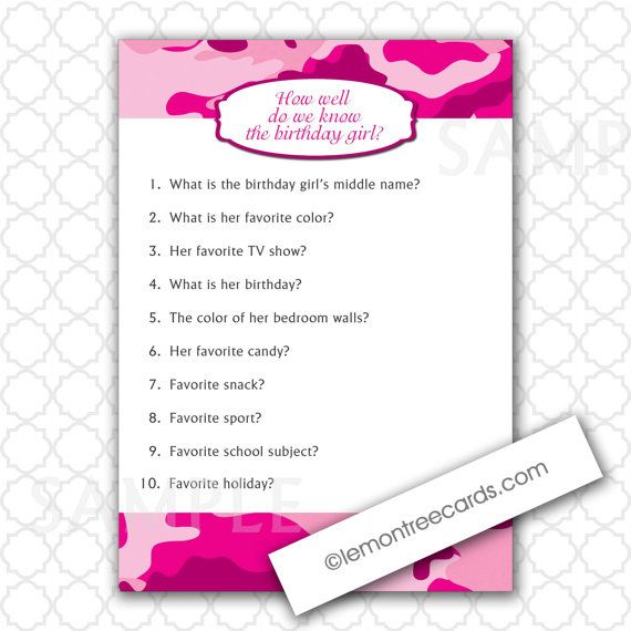 Pink Camo Party Game / How well do we know the birthday girl? by lemontreecards, $4.00