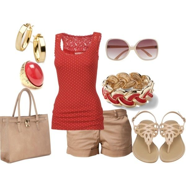 Great summer outfit! i have most of this stuff but in different colors. pink tank and white shorts and gold sandals