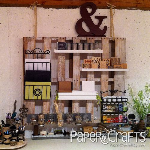 love this pallet with shelves craft room and storage
